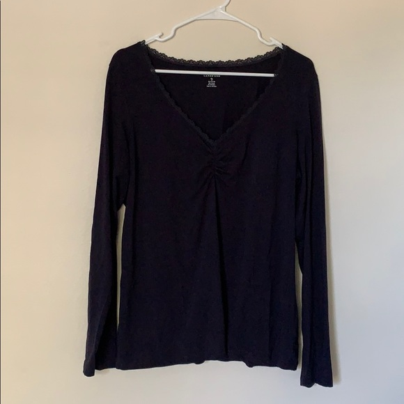 Lands End L/S Navy Blouse